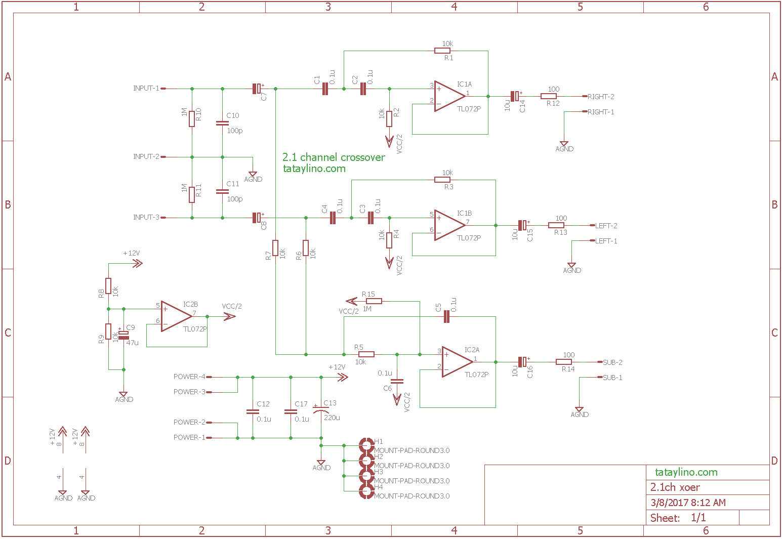 21 Channel Crossover Circuit Tone Control For Guitar Amplifier Using 741 The Is Simple That It Only Uses 1 Op Amp Per Which Just Fine Small Power Audio Systems Other Used To Provide Bias