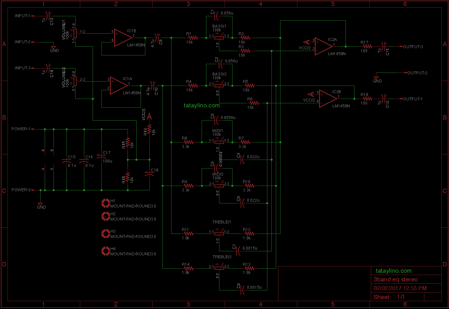 Audio Tone Control Circuit
