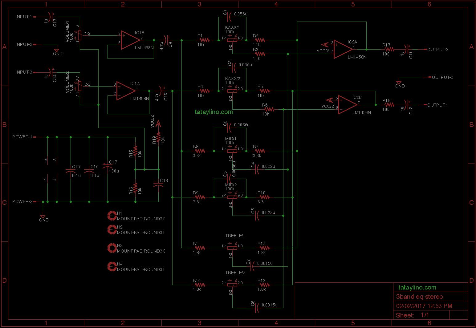 3 Band Tone Control Design Circuit Diagram Pcb