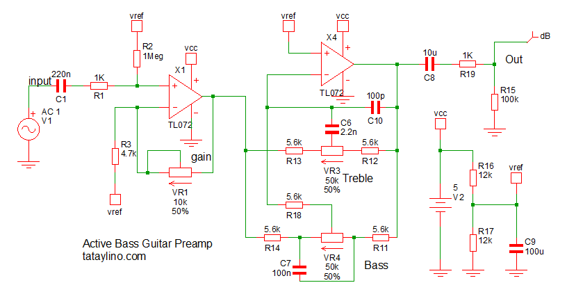 B Guitar 2 band eq active preamp circuit – tataylino.com on
